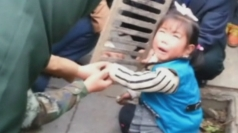 Girl gets hand stuck in drain in China