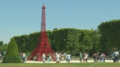 Eiffel Tower recreated with red chairs