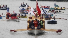 Boats taking part in the Diamond Jubilee River Pageant.