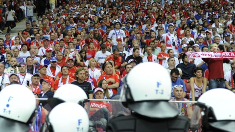 Trouble flared ahead of Poland's match against Russia.