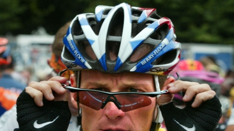 Lance Armstrong waits to start the Tour de France in 2003.
