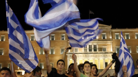 The result has eased fears of Greece leaving the euro.