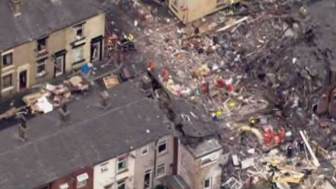 The explosion site in Shaw, Oldham.