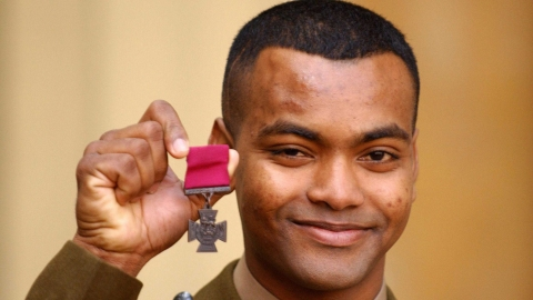 L/Cpl Johnson Beharry with his Victoria Cross in 2005.