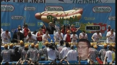 Competitors scoffing their hot dogs