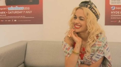 Rita Ora winks at the camera at Wireless.