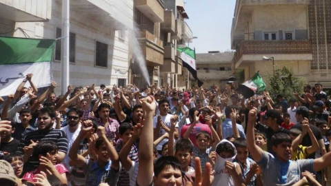 Protests in Hama earlier this month.