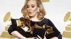 The singer holding six Grammys awards.