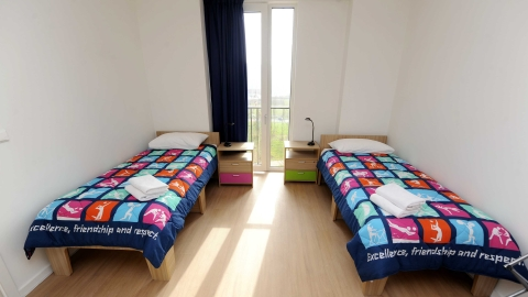 An athlete's bedroom at the Olympic Park