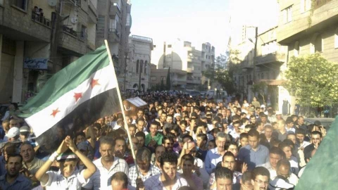 A funeral procession takes place at Yabroud near Damascus.