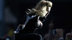 Madonna performs on stage at London's Hyde Park.