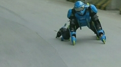 "Jean-Yves Blondeau uses a unique ""roller suit""."