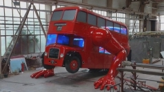 Olympic double-decker bus does push-ups