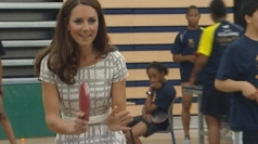 Kate shows off skills during game of table tennis