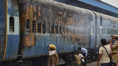India train wreck: Carriages catch fire