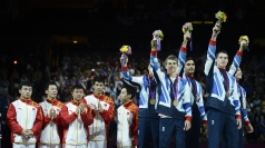Louis Smith celebrates as Team GB bag the bronze.