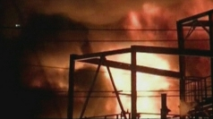 Burning tanker in Oklahoma refinery