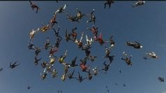 Amazing footage of record-breaking skydive.