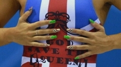 Athletes' display their patriotic nails.