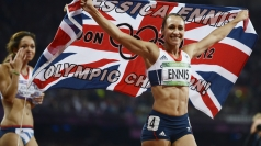 Ennis celebrates following her heptathlon victory.