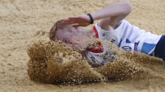Rutherford lands to take gold at London 2012.
