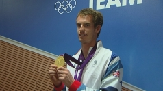 Andy Murray celebrates his Olympic gold