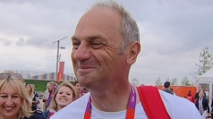 Steve Redgrave reacts to Chris Hoy overtaking his medal haul