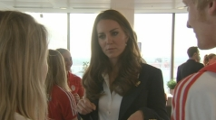 Kate chats to British athletes at Team GB house