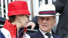 Philip and his daughter Anne watching the Olympic dressage.
