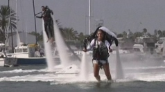 Couple tie the knot on jetpacks