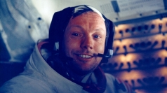 Neil Armstrong smiles after his historic moon landing.
