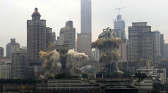 Twin skyscrapers blown up in China.