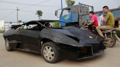 Chinese man creates own Lamborghini out of iron and van.