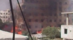 Amateur video: Footage of burning homes in Syria's Damascus