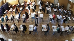 GCSE students sit exams.