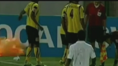 Hand grenade explodes on Iranian football pitch