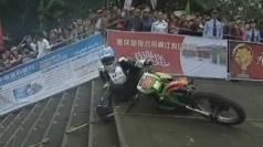 Up-stairs motorbike race held in Chongqing, China.