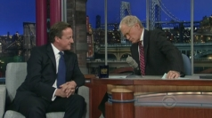 David Cameron appears on The Late Show with David Letterman.