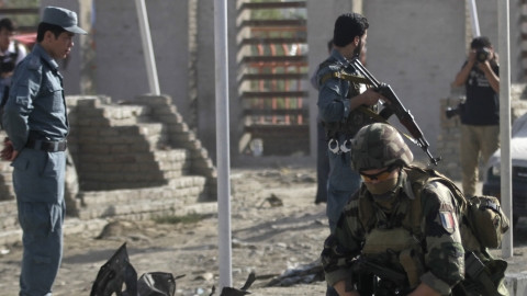 A Nato soldier after a suicide attack in Kabul last week.