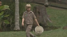 Steve Irwin's son feeds his first crocodile