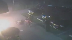 Shocking footage shows a man set on fire in California