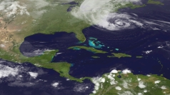 Nasa image shows Hurricane Sandy along the East Coast.