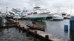 Boats piled after superstorm Sandy caused havoc.