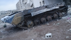 Syrian tank blown up by rebel armoured vehicle in Aleppo