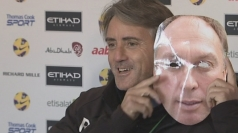 Roberto Mancini turns up to presser in a David Platt mask