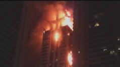 Huge fire rips through Dubai skyscraper