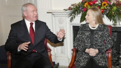 Hillary Clinton arrives in Belfast