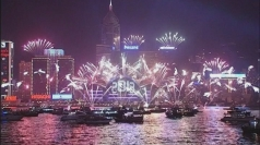 Hong Kong welcomes in 2013 with fireworks display.