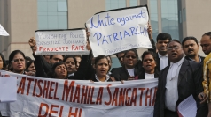 Protester gather outside court in New Delhi