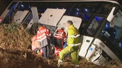 Cruise coach overturns on motorway